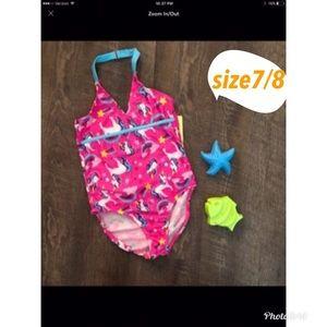 26ae8012c41a4 7/8 kids UNICORN one piece swimwear NWT